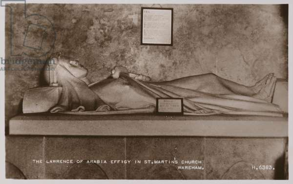 The Lawrence of Arabia Effigy in St Martin's Church, Wareham (b/w photo)