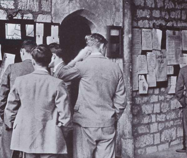 After Hall, looking at the college notice board (b/w photo)