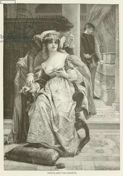Portia and the caskets (engraving)
