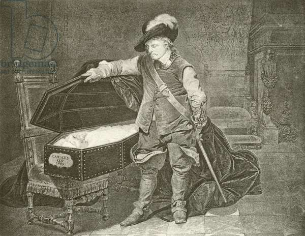 Oliver Cromwell looking at the Corpse of King Charles I (gravure)