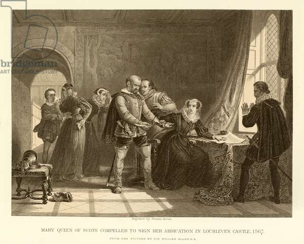 Mary Queen of Scots compelled to sign her abdication in Lochleven Castle (engraving)