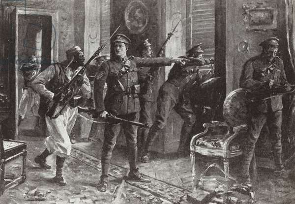 Sergeant Edward Clarke directing the defence of Chateau Herentage during the First Battle of Ypres, November 1914 (litho)