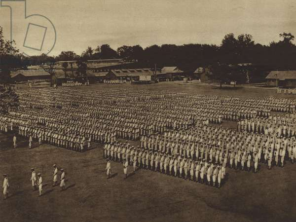 America in World War I: A review at the United States Naval Training Station, Pelham Bay Park (b/w photo)