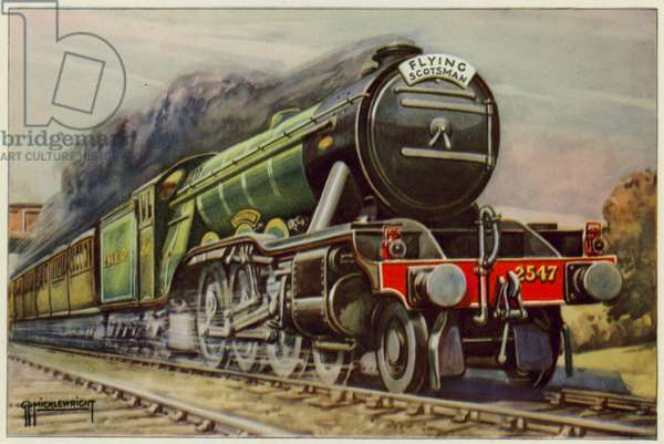 "LNER, The ""Flying Scotsman"" at full speed (colour litho)"
