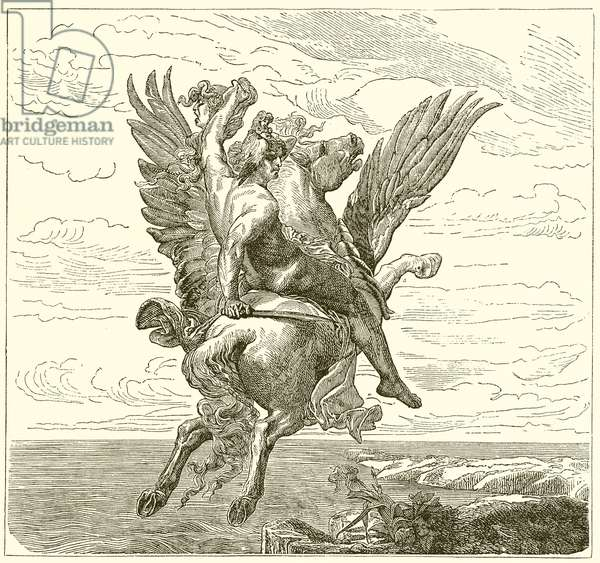 Perseus on the Winged Horse Pegasus, with Medusa's Head (engraving)