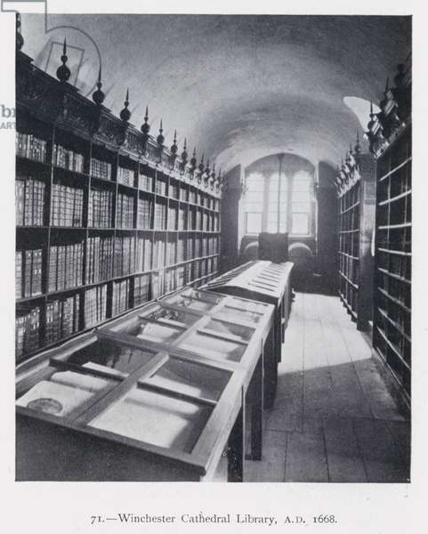 Winchester Cathedral Library, AD 1668 (b/w photo)