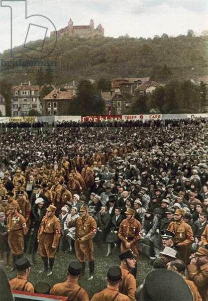 Nazi rally below the Veste Coburg fortress, Coburg, Germany, 1932 (colour photo)