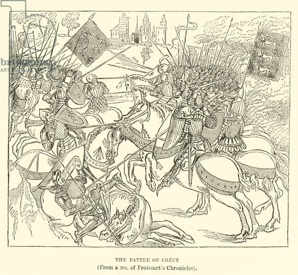 The Battle of Crecy, (From a MS of Froissart's Chronicles) (engraving)