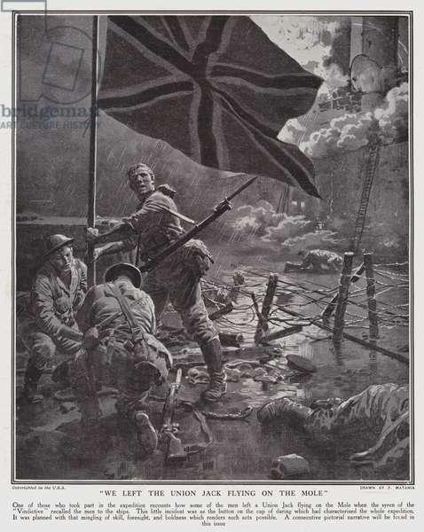 We left the Union Jack flying on the Mole (litho)
