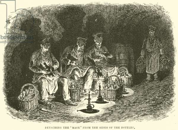 Detaching the 'Mask' from the sides of the Bottles (engraving)
