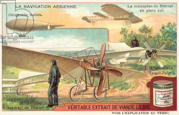 Italian dirigible airship, Bleriot monoplane in flight and Esnault-Pelterie aeroplane (chromolitho)