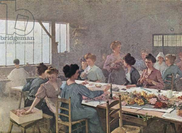 Women workers in a florist's workshop (colour litho)