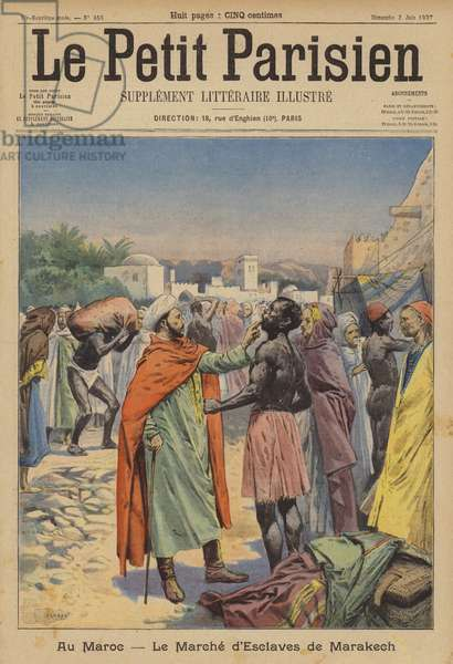 The slave market of Marrakesh, Morocco (colour litho)