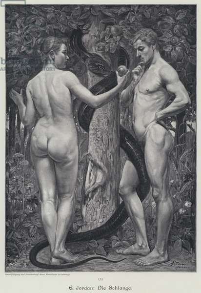 The Serpent. Adam and Eve in the Garden of Eden (engraving)