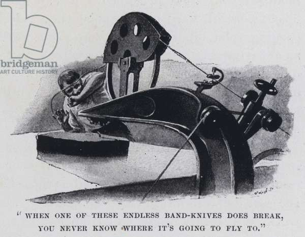 """""""When one of these endless band-knives does break, you never know where it's going to fly to"""" (b/w photo)"""