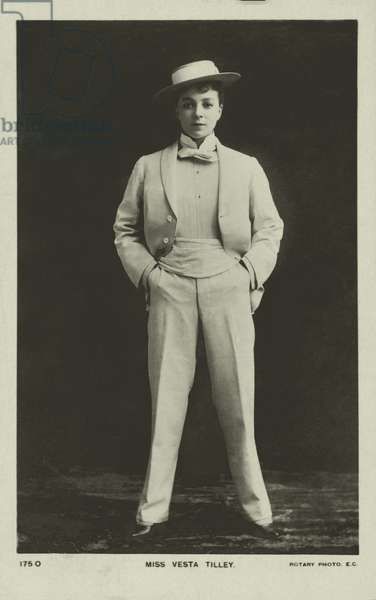 Vesta Tilley, English music hall performer and male impersonator (b/w photo)