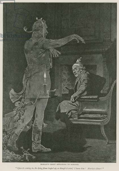 Illustration for A Christmas Carol by Charles Dickens (litho)