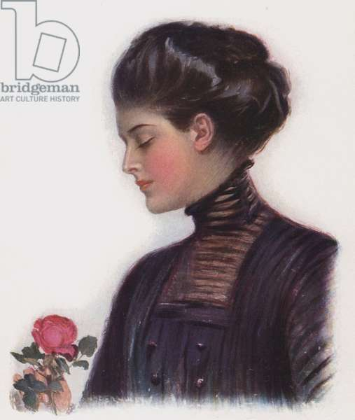Girl with a rose (colour litho)