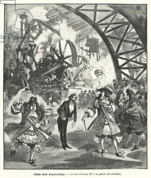 Imagined visit of King Louis XIV and his court to the Pavilion of Machines at the Exposition Universelle in Paris in 1889 (engraving)