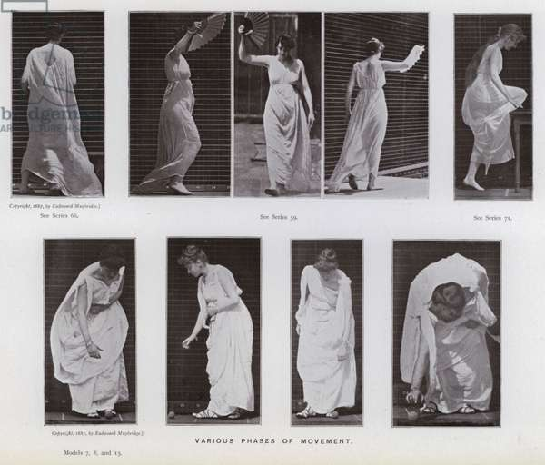 The Human Figure in Motion: Various phases of movement (b/w photo)