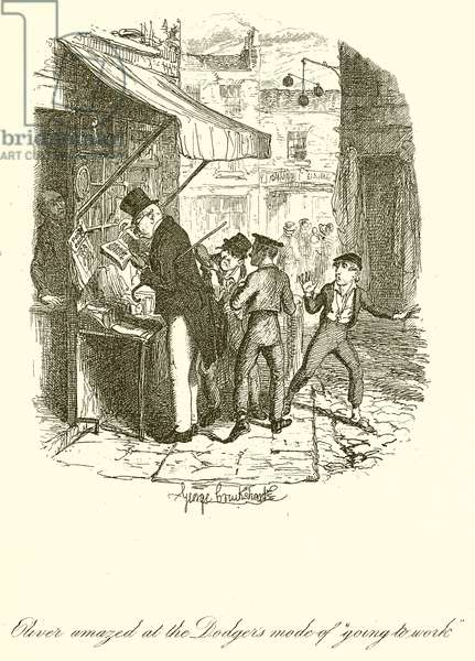 """Oliver amazed at the Dodger's mode of """"Going to Work"""" (engraving)"""