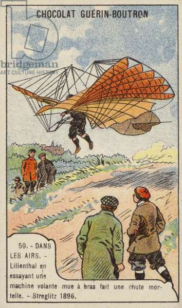 Lilienthal's fatal crash while testing a man-powered glider, Germany, 1896 (chromolitho)