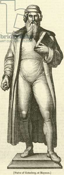 Statue of Gutenberg, at Mayence (engraving)
