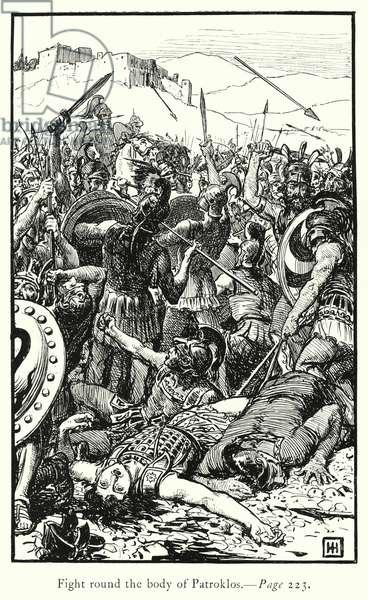 The Iliad: Fight round the body of Patroklos (engraving)
