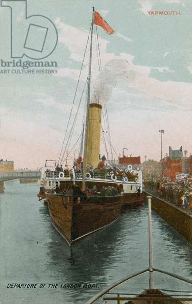 Departure of the London boat at Yarmouth. Postcard sent in 1913.