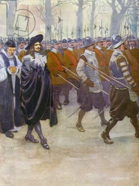 King Charles I walking to his execution (colour litho)