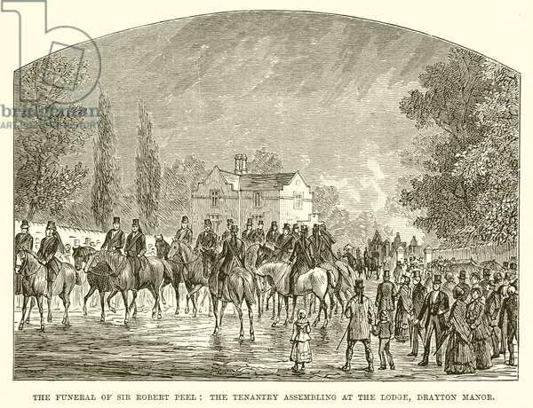 The Funeral of Sir Robert Peel: The Tenantry Assembling at the Lodge, Drayton Manor (engraving)