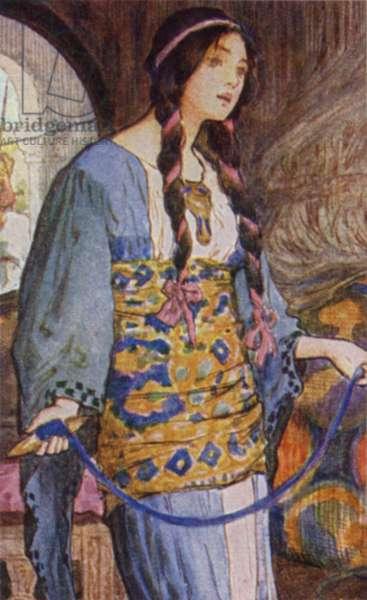 The Lady of Shalott (colour litho)