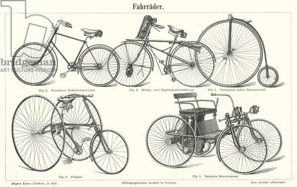 Types of bicycle (engraving)