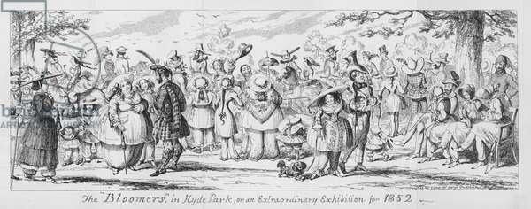 """The """"Bloomers"""" in Hyde Park, or an Extraordinary Exhibition for 1852 (engraving)"""