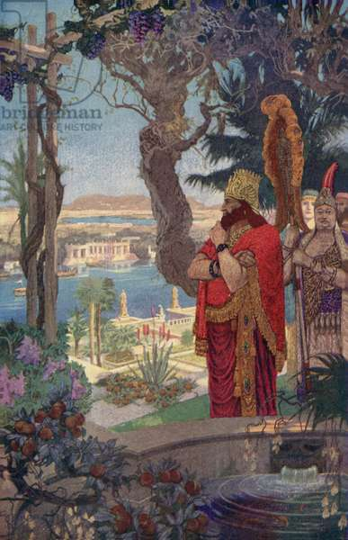 Nebuchadnezzar in the Hanging Gardens (colour litho)