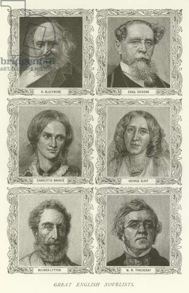 Great English Novelists, R Blackmore, Charles Dickens, Charlotte Bronte, George Eliot, Bulwer-Lytton, W M Thackeray (engraving)