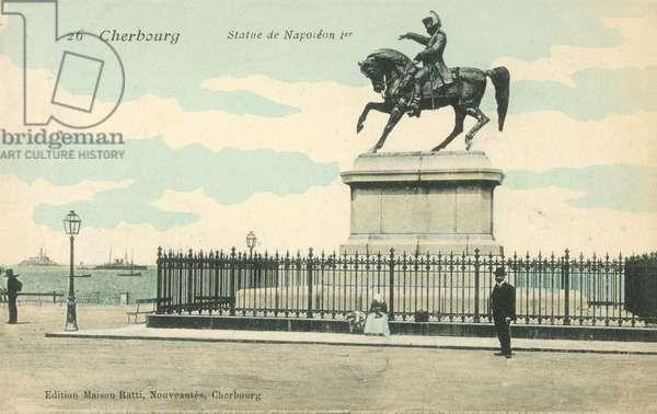 Cherbourg, France, Statue of Napoleon I (colour photo)