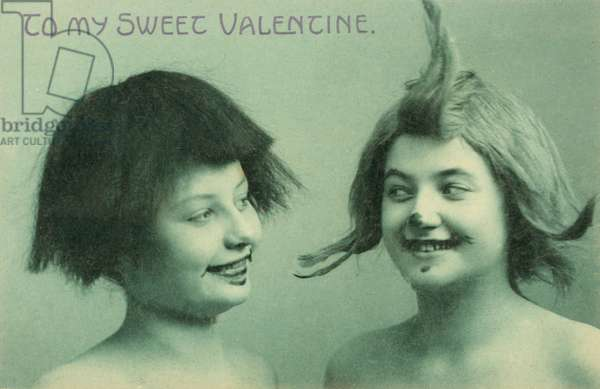 Two women dressed up in funny makeup and hairstyles, Valentine's card (b/w photo)