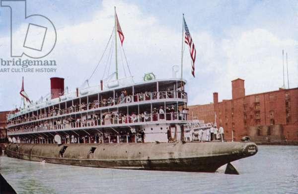 Steamship Christopher Columbus, Whaleback, Entering Harbor at Chicago (colour photo)