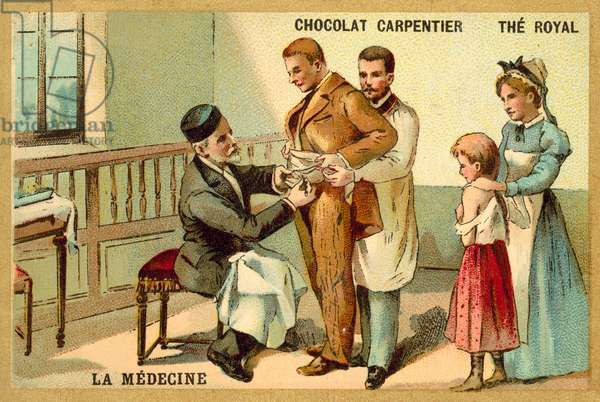 Louis Pasteur inoculating a patient against rabies at the Pasteur Institute (chromolitho)