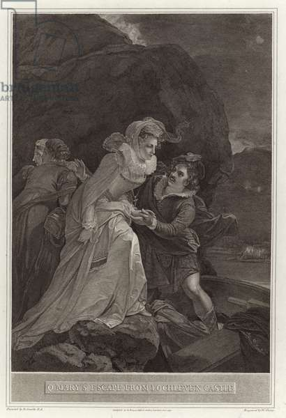 Q Mary's escape from Lochleven Castle (engraving)
