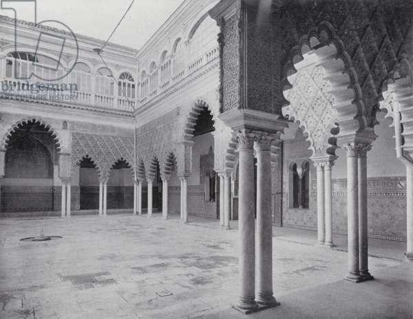 Court of the Hundred Virgins, Alcazar, Seville (b/w photo)