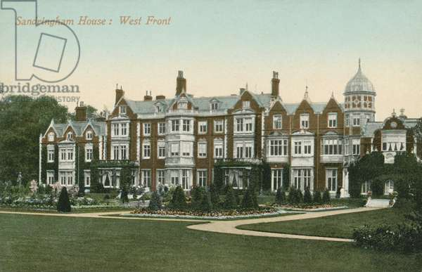 West front of Sandringham House, British royal residence, Norfolk (colour photo)