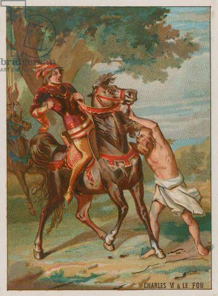 Charles VI is warned by a leper that he will be betrayed (chromolitho)