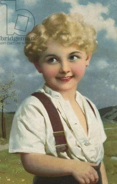 Smiling boy (colour litho)