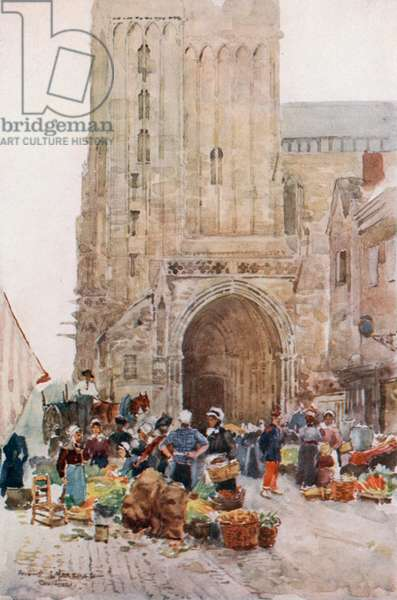 The South Porch of the Cathedral, Contances (colour litho)