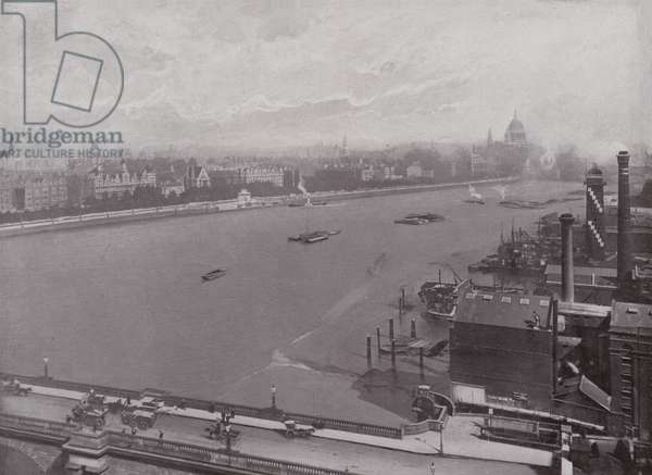 The Thames and Eastern Section of the Victoria Embankment (b/w photo)