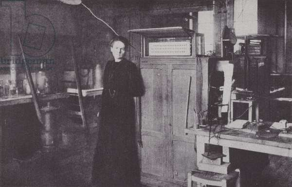 Madame Curie in her laboratory, 1912 (b/w photo)