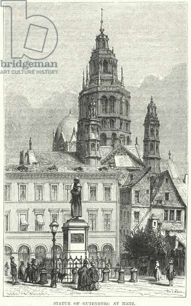 Statue of Gutenberg at Metz (engraving)