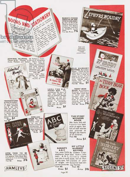 Page from Hamleys Toy Shop catalogue, 1937 (litho)